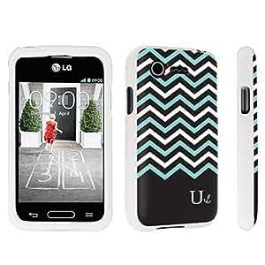 DuroCase ? LG L34C Optimus Fuel / LG Optimus Zone 2 VS415PP Hard Case White - (Black Mint White Chevron U)