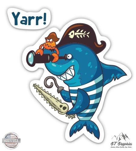 "Pirate Shark - 3"" Vinyl Sticker - For Car Laptop I-Pad Phone Helmet Hard Hat - Waterproof Decal"