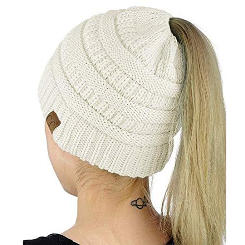 Womens Ponytail Beanie Hat, Warm Winter Hat for Messy Bun Ponytail Hole,No Messy Hair Ponytail Beanie Hat