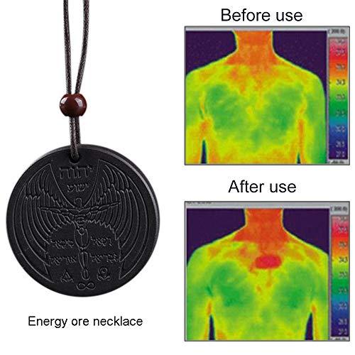 Haluoo Energy Neckalce – Powerful Scalar Quantum Bio Pendant Necklace Volcanic Stone Energy Necklace Magnetic Health Power Chain Necklace, Round Neckalce (Black)