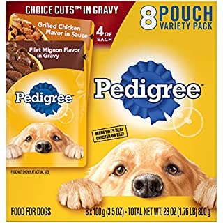PEDIGREE CHOICE CUTS in Gravy Adult Canned Soft Wet Meaty Dog Food Grilled Chicken Flavor in Sauce & Filet Mignon Flavor Variety Pack, (8) 3.5 oz. Pouches