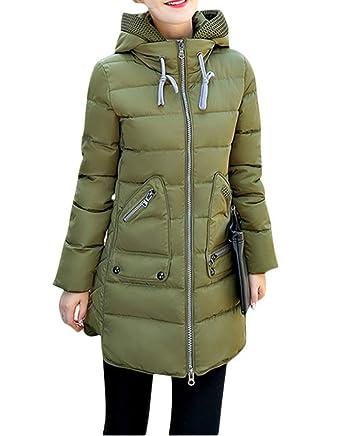 1929c34cf1a1 Amazon.com  Acelyn Women s Hood Winter Coat Overcoat Long Down Parka Jacket  Outwear XXX-Large Army Green  Clothing
