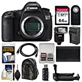 Canon EOS 5DS R Digital SLR Camera Body with 64GB Card + Backpack + Flash + Battery & Charger + Grip + Remote + Kit