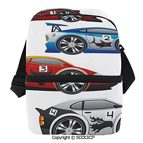 Mechanical Gents Collection - SCOCICI Insulated Lunch Cooler Bag Collection of Formula Race Cars Modern Mechanical Technology Automotive Reusable Lunch for Men Women Heat Insulation,Heat Protection