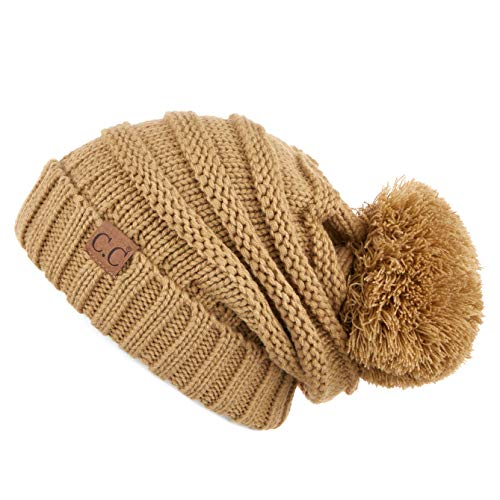 CC Exclusives Unisex Oversized Slouchy Beanie with Pom (HAT-100POM) (Amazon Camel)