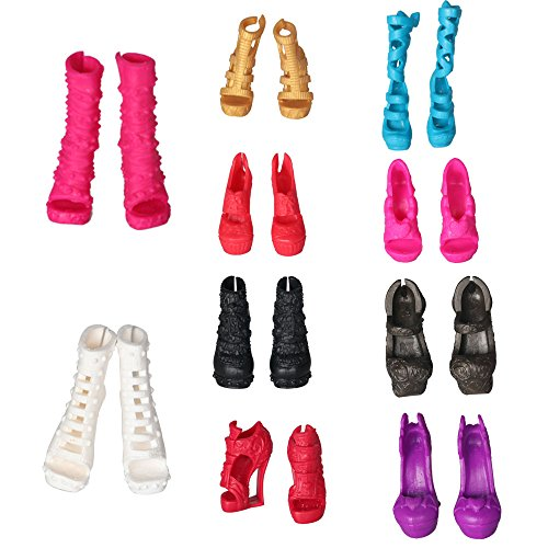 Tanosy 10 Pairs Shoes for Monster High Doll Accessories Fashion High Heels Sandals Boots Variety Colors Gift]()