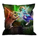 HGOD DESIGNS Cat Pillow, Bright Two Cat Fights in The Forest Cotton Linen Cushion Cover Square Standard Home Decorative Throw Pillow for Men/Women 18x18 inch Green,Blue