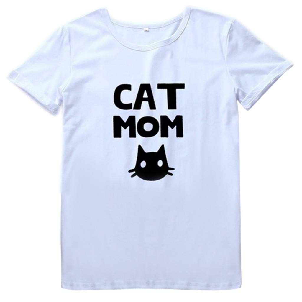 Leoy88 Fashion Women's Loose Short-Sleeved CAT MON Print T-Shirt Casual O-Neck Top White