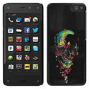 LECELL--Funda protectora / Cubierta / Piel For Amazon Fire Phone -- Acuarela del cráneo de la pintura al óleo Negro --