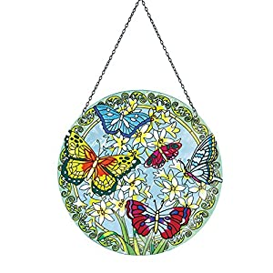 Round Stained-glass Spring Butterfly Suncatcher