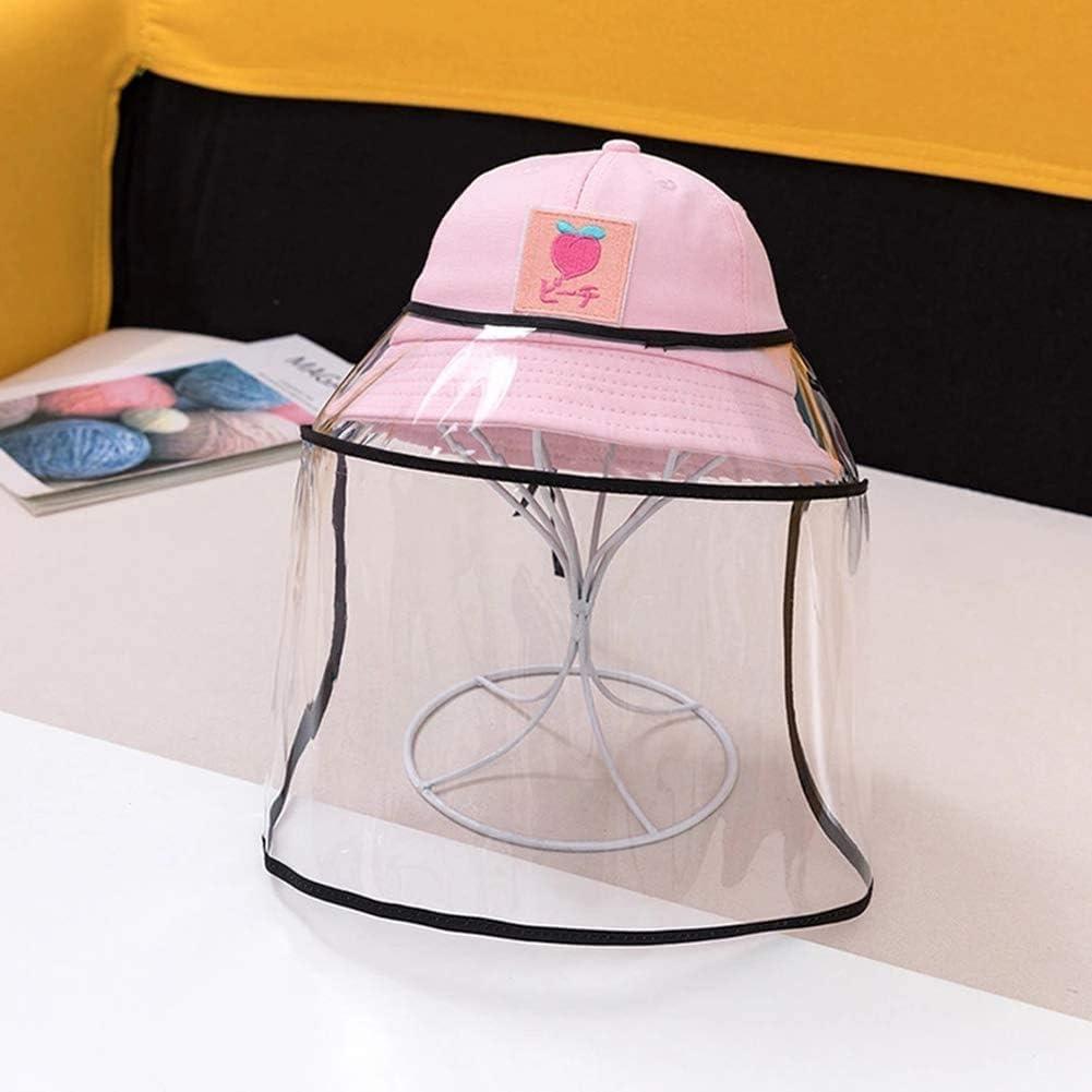 BWJL Excelente Casco Anti-escupir con una Cara extraíbles de plástico Transparente, Sun del Casquillo del Sombrero del tapón Antipolvo Fischer escupió niñas,Rosa