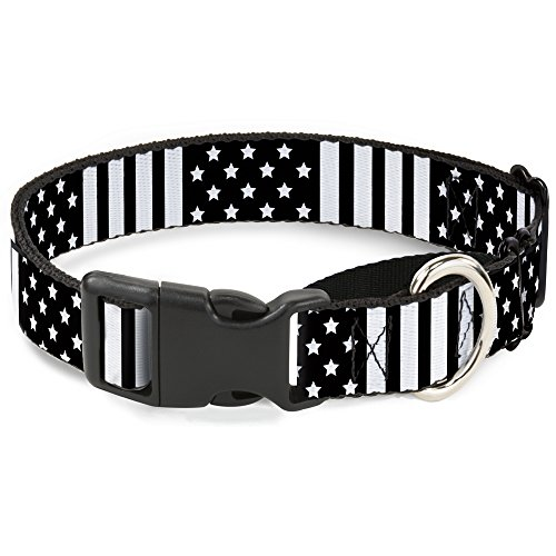 Buckle Down American Flag Close-Up Black/White Martingale Dog Collar, 1