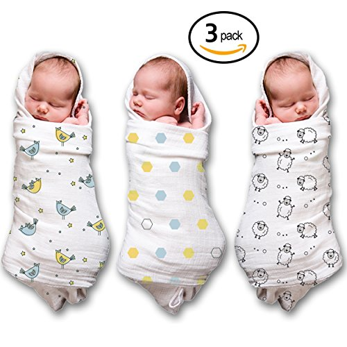 Receiving Baby Muslin Swaddle Blankets - 3 PK - 100% Soft Cotton for a Baby Boy & Girl, Large 47x47""