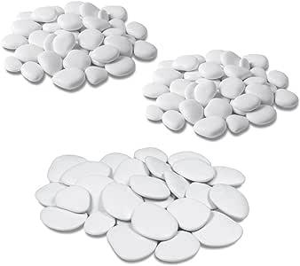 Teraplast - Piedras decorativas para jarrones, jardín y acuario en plástico reciclado - 3 paquetes, color blanco: Amazon.es: Jardín