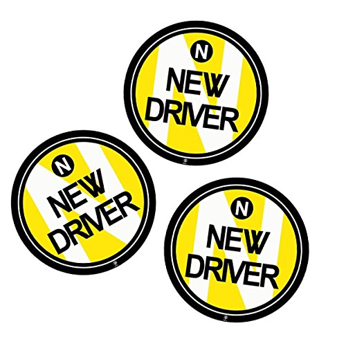 '' Vehicle Round Magnet Sign Bumper Magnet Safety Sign - Car Vehicle Reflective Sign Sticker Bumper for New Driver (3) ()