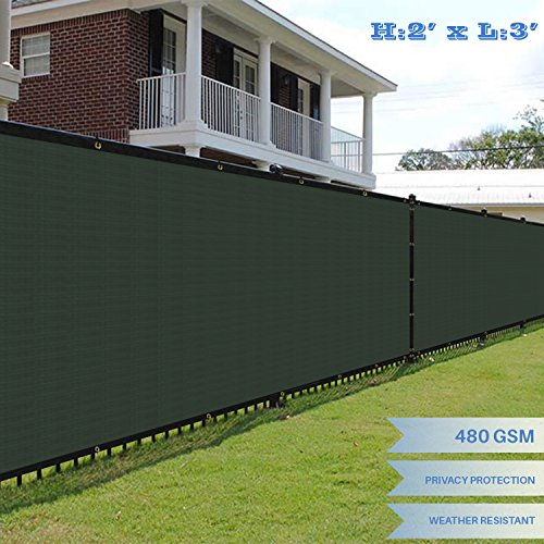 Vinyl Portable Fencing - E&K Sunrise Premium Fence Screen 2' x 3' Fence Privacy Screen Solid Vinyl Fence Screen Fabric 100% Privacy (480GSM) -3 Year Limited Warranty&8-10 Year Expected Life/Solid Green