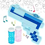 ArtCreativity Pixel Bubble Blaster Toy Gun with Light and Sound Effects, 2 Bottles of Bubble Solution and Batteries Included, Cute Light Up Pixel Bubble Blower for Boys and Girls, Best Gift Idea