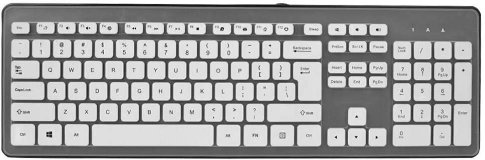 Black Silent Chocolate Key with Protective Film Bewinner Chocolate Universal USB Keyboard with Waterproof Cable Connection E-Sports Game Keyboard Ultra Slim for Games and Office