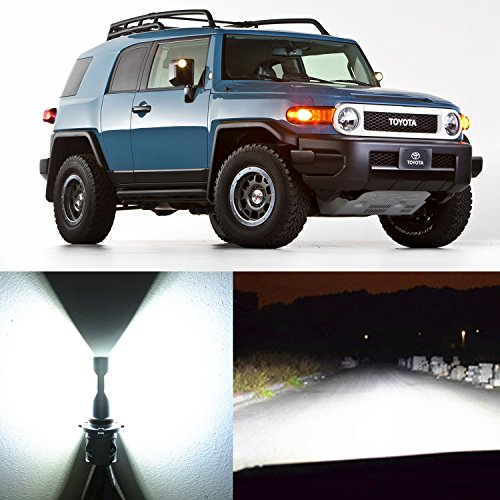 Alla Lighting 2x Super Bright 6500K White 9003 H4 LED Headlight Bulbs for Dual High Low Beam Headlamp Conversion Kits DRL Light Lamps for 2007 2008 2009 2010 2011 2012 2013 2014 Toyota FJ Cruiser