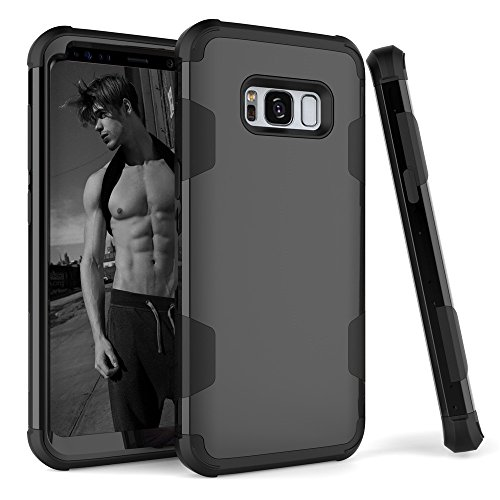 Galaxy S8 Plus Case, SUMOON 3 in 1 [Unique design] [Full-Body Protective] [Shockproof]Hard PC+ Soft Silicon Rubber Armor Defender Protective Case Cover for Samsung Galaxy S8 Plus (Black)