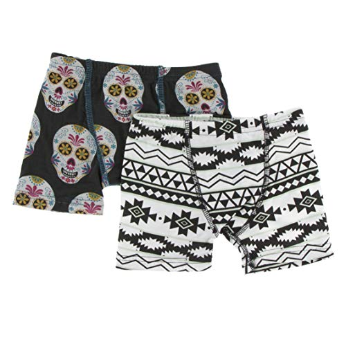 Boxer Briefs Set (Dia de Los Muertos Skulls and Natural Mayan Pattern - -