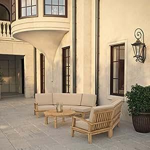 Marina 7 Piece Outdoor Patio Teak Sofa Set, Natural Tan