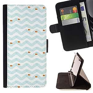 For Samsung Galaxy A3 Case , Modelo azul blanco Sea Fish- la tarjeta de Crédito Slots PU Funda de cuero Monedero caso cubierta de piel