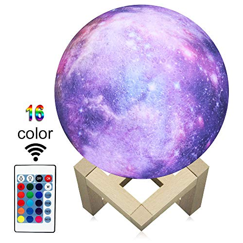 JMLLYCO 3D Printing Moon Lamp 3D Moon Light for Kids Night Light 16 Colors Change and Remote Control Star Dedside Lamp As a Birthday Gift Ideas Boys or Girls 5.9inch