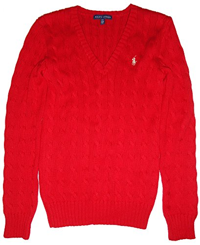 (Ralph Lauren Womens Cable Knit V-Neck Sweater Red (Large))