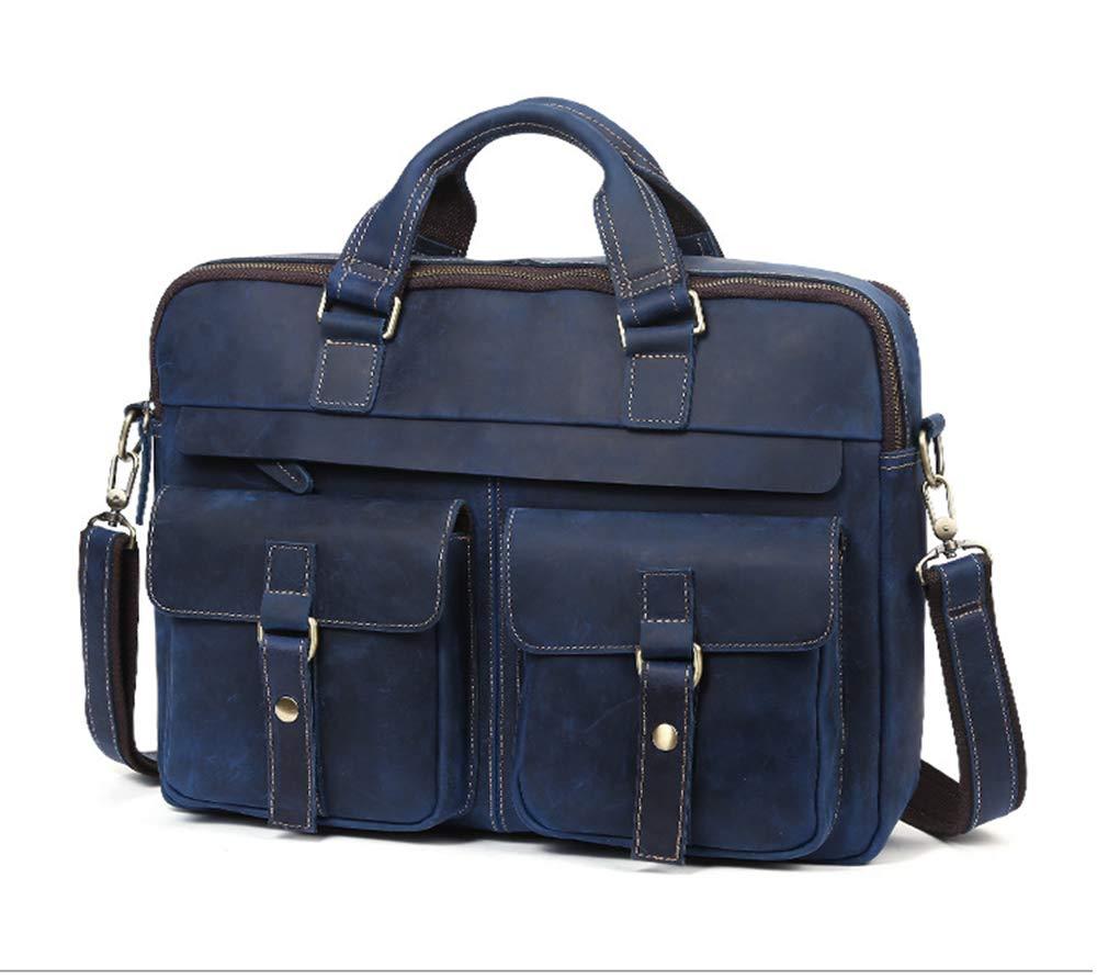 ROOKLY Echtes Leder Messenger Bag Wasserdichte Vintage Large 15,6 Zoll Laptop-Taschen Für Herren Und Damen Handtasche Aktentasche Notebook,Blau