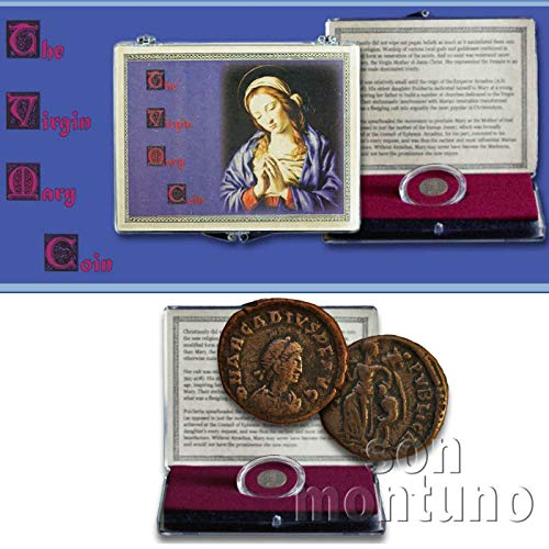 VIRGIN MARY COIN IN CLEAR BOX with Certificate of Authenticity - Genuine Ancient Roman Emperor Arcadius Bronze Coin - HOLY MOTHER JESUS