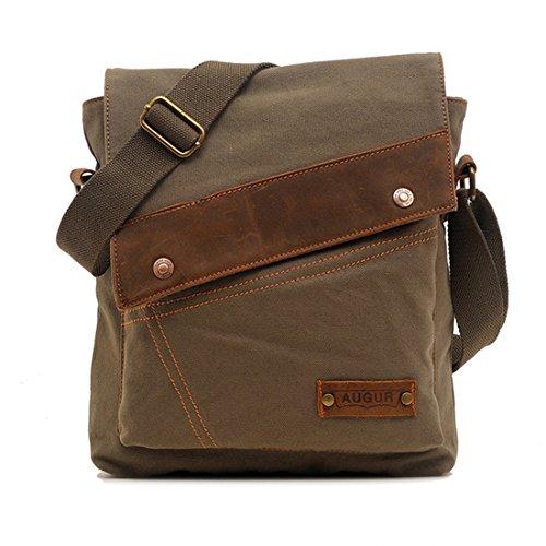 Cai-Vintage Canvas Shoulder Bag Messenger Case for Ipad Travel Portfolio Bag Cr23 (Green) ()