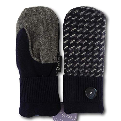 Jack & Mary Designs Handmade Womens Fleece-Lined Wool Mittens, Made from Recycled Sweaters in the USA (Black/Gray/White, Regular)