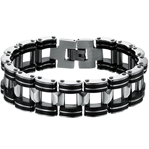 Oidea Mens 18MM Wide Stainless Steel and Rubber Gothic Bicycle Chain Biker Bracelet,Silver and Black Tone,8.3 Inch