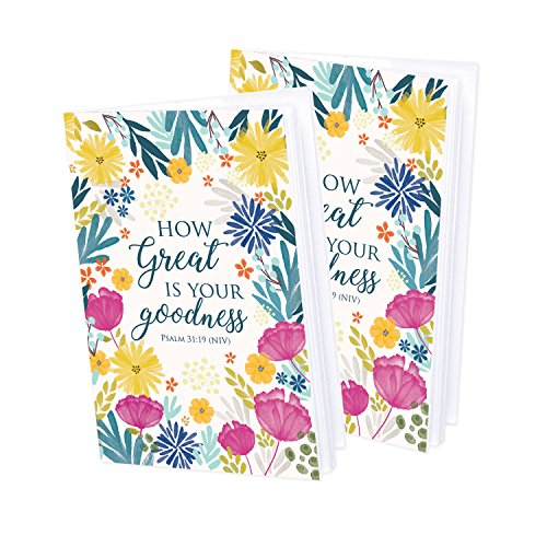 Set of 2- Fuscia and Navy Flower Mini-Journal blank notebook with scripture - Flowers Mini Journals