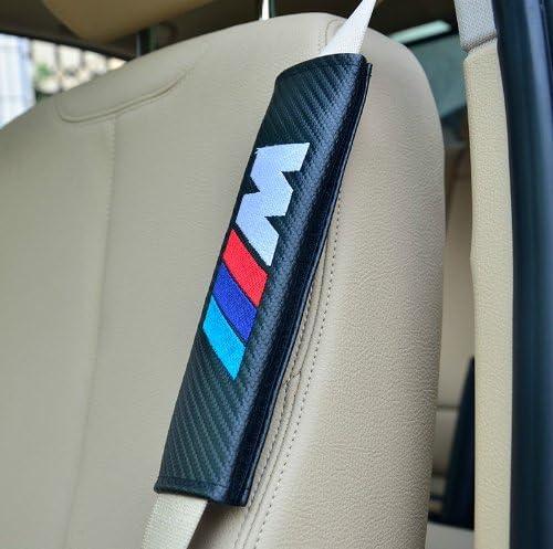 2 pcs New //////M Modified Customization Carbon Fiber Seat Belt Cover Shoulder Pad Cushion For BMW