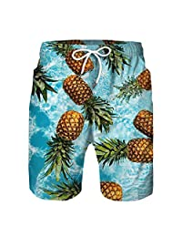 Moonker Kids Boys Summer Beach Shorts Fruit 3D Print Family Matching Boardshorts Casual Short Pants 7-13 Years Old
