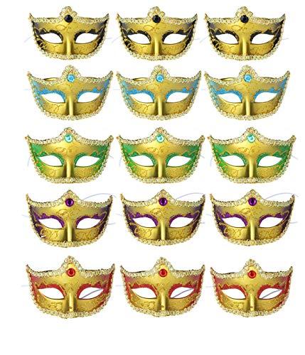 ECOSCO Mini Masquerade Masks Party Decorations 15pcs Pack Supper Small Mardi Gras Venetian Mask Party Favors (C-Mulit 15pcs) ()