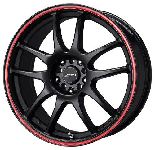 "Drag D31 Flat Black Wheel with Red Lip (15x6.5""/4x100mm)"
