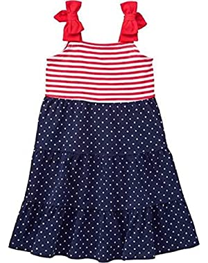 Infant and Toddler Girl's Stars and Stripes Patriotic Maxi Dress
