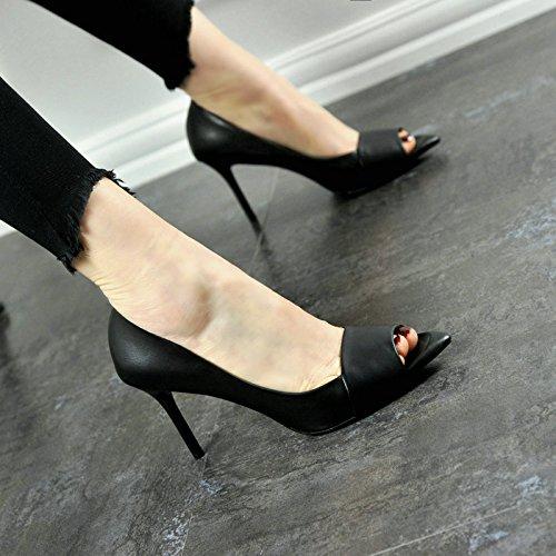 moda stiletto sandali temperamento tacco pesce sexy black alti scarpe tacchi alto signore scarpe partito bocca Estate YMFIE X8Efx