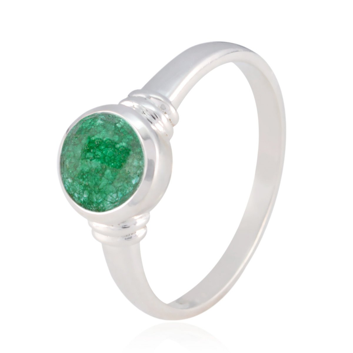 Natural Gemstone Round Faceted Indianemerald Ring Jewelry Great Selling Items Gift for Good Friday Phases of The Moon Sterling Silver Green Indianemerald Natural Gemstone Ring