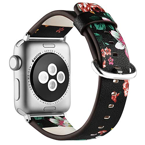 Anjoo Compatible Apple Watch Band 42mm/ 44mm, Floral Pattern Printed Leather Replacement iWatch Wristband with Metal Buckle for iWatch Series 4 3 2 1 Sport and Edition, Flower Design for ()