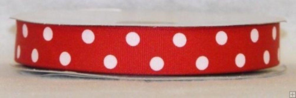 7/8 Grosgrain Polka 2 Line Dot Ribbon 50 Yard Roll Red With White Dots by BFF Clohting   B015T9ZV0K