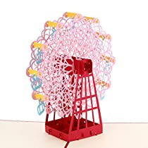 3D Ferris wheel Pop Up Card and Envelope - Funny Unique Pop Up Greeting Card for Birthday, Mothers Day, New Year, Anniversary, Valentine, Wedding, Graduation, Thank You. Pink Ferris wheel