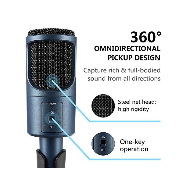 Microfono Usb, MAD GIGA Microfono a Condensatore Con Supporto Pieghevole, Microfono a Condensatore USB Omnidirezionale… 2 spesavip