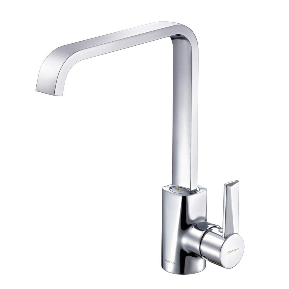 JOMOO Best Commercial High Arc Square Waterfall Kitchen Sink Faucet Solid Brass Deck Mount Single Handle Modern Hot Cold 360 Degree Swivel Spout Basin Mixer Water Tap, Chrome