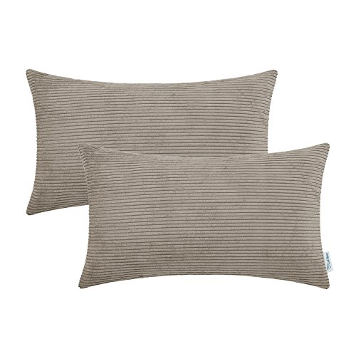 CaliTime Pack of 2 Cozy Bolster Pillow Covers Cases for Couch Bed Sofa Ultra Soft Corduroy Striped Both Sides 12 X 20 Inches Simply Taupe