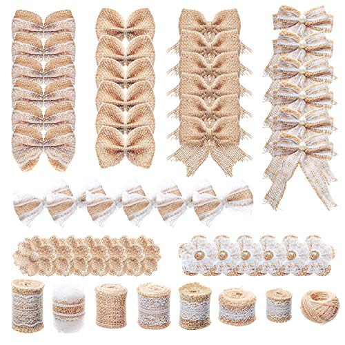 YUEAON 50-Pack Natural Burlap Fabric Flowers Set for Craft Rustic Wedding Party Home Decoration Lace Ribbon Roll- Twine String-Jute Decor -
