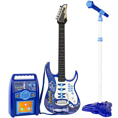 Best Choice Products Kids Electric Guitar Play Set W/ MP3 Player, Blue (Guitar Mp3)
